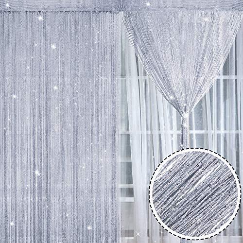 2 Stück Funkeln Fadenvorhang Schnur Vorhang Platte Baumwolle Vorhang Schnur Fenster Tür Fliegen Bildschirm Vorhänge, 100 x 200 cm (Silber)