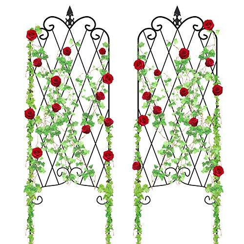 "Amagabeli Garden Trellis GTP002 47"" x 16"" Rustproof Iron Plant Trellis Vegetables Patio Metal Wire Lattices Grid Panels for Ivy Cucumbers 2 Pack"