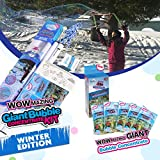 WOWMAZING Winter Edition Giant Bubbles: Incl. Wand, 7 Big Bubble Concentrate Pouches and 8 Glow-in-The-Dark Stickers   Outdoor Toy for Kids, Girls   Bubbles Made in The USA