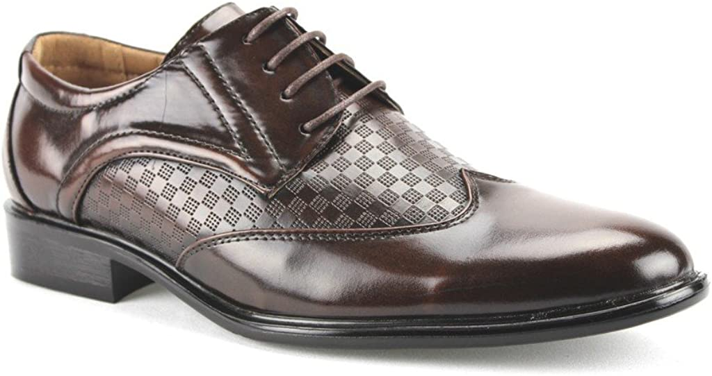 ermax Men's W2015-6 Wing Tip Checkered Oxfords Dress Shoes, Brown