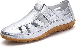 dab68116c9a924 Z.SUO Sandales Femmes Plates Cuir Casuel Confort Mocassins Loafers  Chaussures de Conduite La Mode