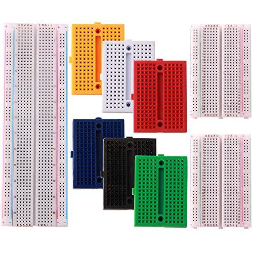 FULARR® 9Pcs Premium Sin Soldadura PCB Breadboard Kit: 1Pcs MB-102 830 Puntos PCB Breadboard, 2Pcs 400 Puntos Prototipo Placa, 6Pcs 170 Puntos Mini Breadboard, Experimental Prueba Breadboard