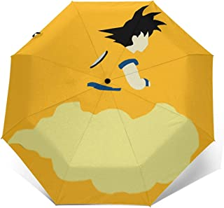 Xintaishirunjinluyoufazhany Goku On Flying Nimbus UV Protection Trifold Umbrella Sun Anti-UV Compact Travel Windproof Folding Automatic Open Auto Close for Unisex