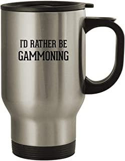 I'd Rather Be GAMMONING - Stainless Steel 14oz Travel Mug, Silver