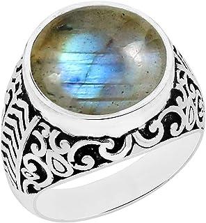 Natural Lapis Moonstone Malachite Labradorite Rose Quartz Carnelian Solitaire Ring 14mm Round Shape Gemstone 925 Silver Ov...