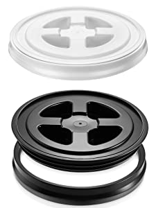 Quzzil 2 Pieces Seal Lids Leak-Proof Bucket Seal Lid 5 Gallon Screw Top Lids for Plastic Bucket Compatible with Gamma (Black and White)