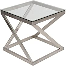Ashley Furniture Signature Design - Coylin Glass Top Square End Occasional End Table - Contemporary - Brushed Nickel Finish