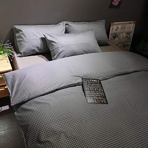 yaonuli Beddengoed van Scandinavisch katoen met lange vezels, katoen, 4-delig, beddengoed deken voor de studium, slaapzaal, eenvoudig drie delen, klein rooster, bed 2,0 m (6,6 voet)