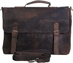 KomalC 18 Inch Retro Buffalo Hunter Leather Laptop Messenger Bag Office Briefcase College Bag