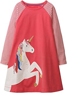 Fiream Girls Dresses Cotton Striped Cartoon Applique Casual Animal Printed Outfits Dress