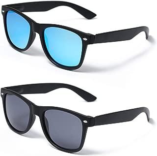 Polarized 80s Retro Classic Driving Sunglasses for Men, Unisex 2 Pack