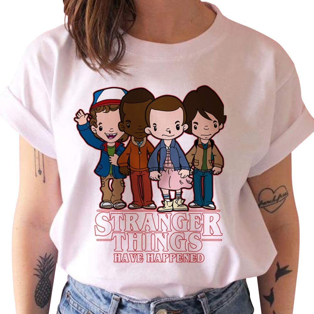 Camiseta Stranger Things Niña, Camiseta Stranger Things Mujer Impresión Manga T-Shirt Abecedario Chicas Camiseta Stranger Things Camisa de Verano ...