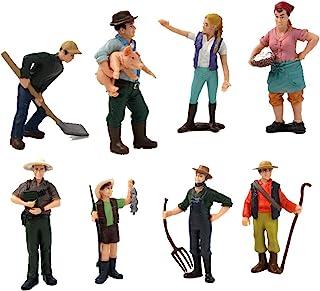 Hvogvok 8 pcs Farmer Model Toys Realistic Female Male Farmer Figure Model Figurine Kids Toy Home Decor Action Figures Play...