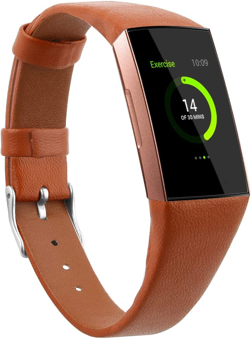 Mtozon Leather Bands Compatible with Fitbit Charge 3/Charge 4, Replacement Accessories Wristband Straps for Women Men, Brown Large