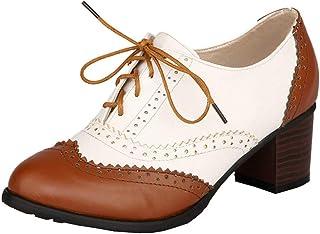 LOVOUO Oxford Chaussure Femme Brogue Escarpins Vintage Retro Talon Bloc Carré Haut à Lacets Bout Fermé 6CM