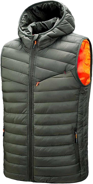 Men's Pure Color Warm Vest Mens Zip Cardigan Winter Hooded Sleeveless Vest With Pocket