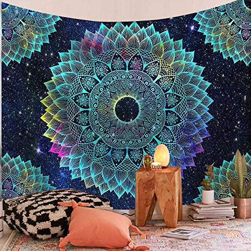 WERT Tapiz de Mandala Indio Chakra Sun Moon Hippie Alfombra de Granja decoración de Dormitorio A10 200x150cm