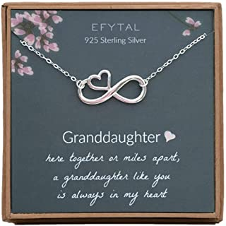 EFYTAL Gift for Granddaughter, 925 Sterling Silver Infinity with Heart Necklace from Grandmother, Gifts for Girls, Best Birthday Gift Ideas, Pendant Jewelry Necklaces, Graduation Grad