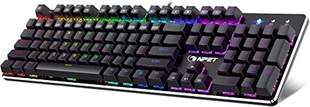 NPET K20 Mechanical Gaming Keyboard RGB LED Backlit Gaming Keyboard Wired Ergonomic Computer Keyboard with Red Switches for PC GamerWindows Gaming 104 at Kapruka Online for specialGifts