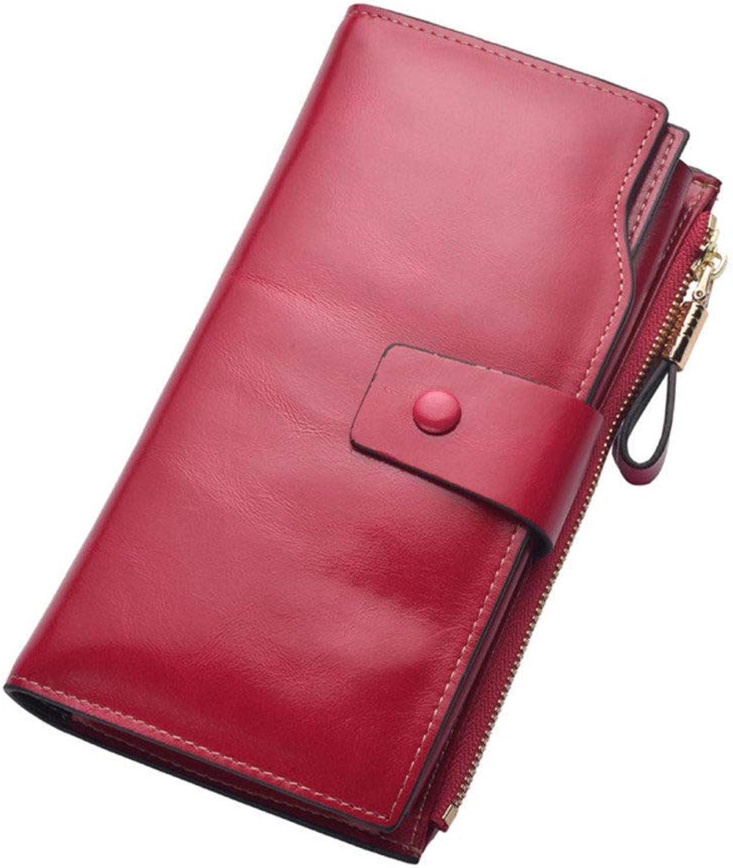 Damen Lange Geldbörse, Multi-Card Reißverschluss Schnalle Damen Clutch, hochwertige Vintage Leder Geldbörse, Krotitkartenetui, Reisepass,Rosa B07PQGVFZR