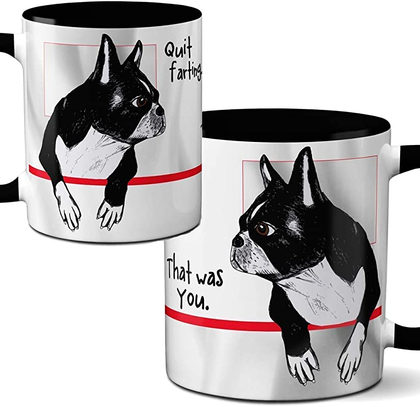 Farting Boston Terriers Mug By Pithitude One Single 11oz Black Coffee Cup
