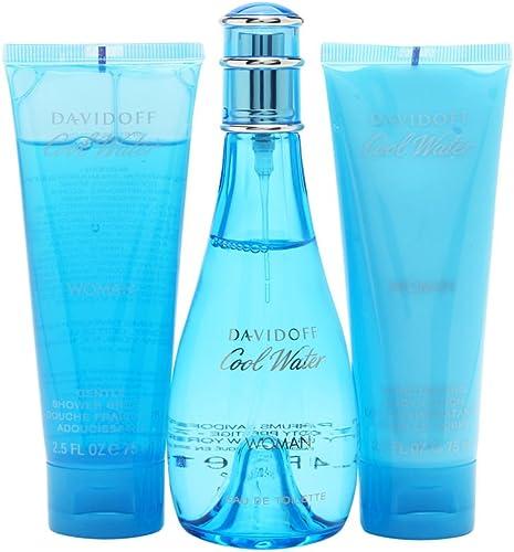 Cool Water by Zino Davidoff for Women - 3 Pc Gift Set 3.4oz EDT Spray, 2.5oz Gentle Shower Breeze, 2.5oz Moisturizing...
