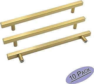 goldenwarm Brushed Brass Drawer Pulls Kitchen Furniture Hardware - LS1212GD224 T Bar Square Gold Kitchen Cabinet Door Handle 8-4/5 Inch Hole Centers Bathroom Cabinet Pulls 10 Pack