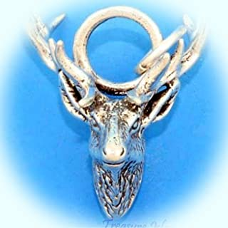 Elk Head with Antlers Deer Stag 3D .925 Solid Sterling Silver Charm Pendant Vintage Crafting Pendant Jewelry Making Supplies - DIY for Necklace Bracelet Accessories by CharmingSS