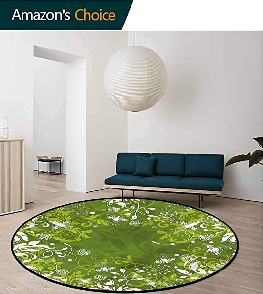 RUGSMAT Green Modern Machine Round Bath Mat Abstract Floral Nature Perfect For Any Room Floor Carpet Diameter 71