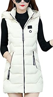 YMING Womens Winter Slim Fit Hooded Vests Sleeveless Long Down Vest Quilted Jackets Outwear with Pockets Plus Size