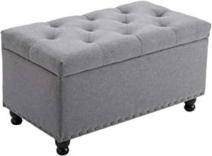 "BELARDO home Ottoman with Storage, 31.9"" Large Storage Chest Foot Rest Stool Tufted Ottoman Cube with Lift Top Holds up to 660lbs End of Bed Bench for Bedroom and Living Room,Gray"
