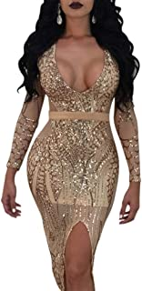 Womens Sexy Sequin See Through Mesh Feather High Neck Bodycon Cocktail Club Midi Dress