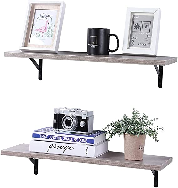 SUPERJARE Wall Mounted Floating Shelves Set Of 2 Display Ledge Storage Rack For Room Kitchen Office Cream Gray