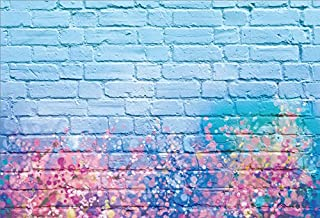 Yeele 8x6ft Brick Wall Photography Background Glitter Colorful Graffiti Watercolor On The Wall Light Blue Brick Wall Backdrops Pictures Adult Artistic Portrait Photoshoot Props