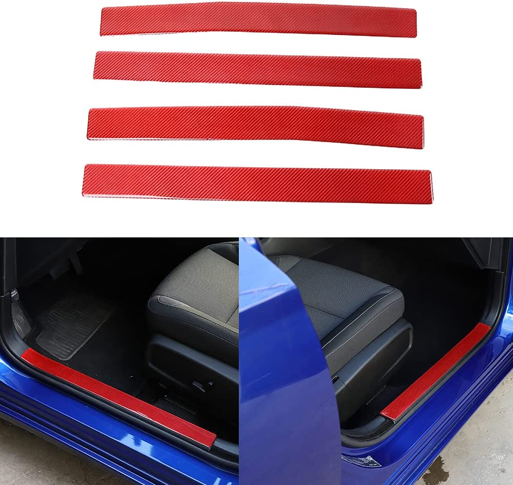 Fscar Large special Max 74% OFF price Car Red Carbon Fiber Scuff Sill Prote Plate Door