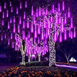 EEIEER 192 LED lluvia gotas luces 30cm 8 tubos impermeable Icicle lluvia de meteoros cadena luces para la boda de Navidad Garden exterior Tree Home Decor