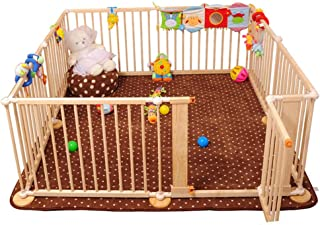 HH- Foldable Playpen Wooden Frame with Door  Safety Play Fence for Kids  amp  Pet  Safety Activity Center for Infant Toddler  Size 120 180cm