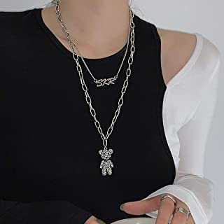Missgrace Punk Stainless Steel Choker Necklace Gothic Rabbit Pendant Necklace Statement Necklace Earrings Jewelry Set for ...
