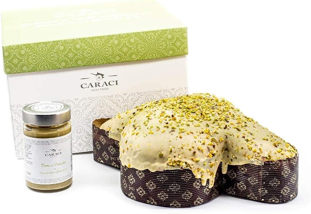 Colomba artigianale di pasqua, al pistacchio,con vasetto di crema al pistacchio verde di bronte d.o.p.