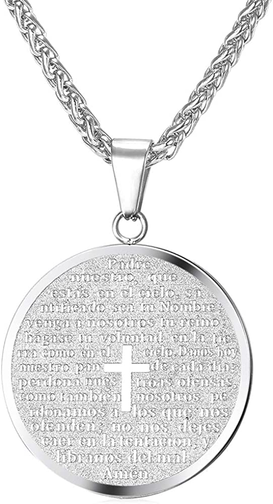 Coin Medal Necklace Men Women Stainless Steel 18K Gold Plated Personalized Mantra Engrave Inspirational Jewelry/Tree of Life Pendant/Cross Lords Prayer Necklace,Customizable and Send Gift Box