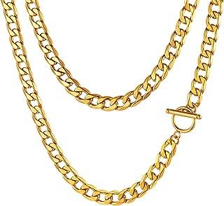 Collar de Eslabones Cubanos Acero Inoxidable 5MM Ancho 45-75CM Largo para Hombre y Mujer Choker Gargantilla Gruesa con Crucifijo/Cerradura/Medallas