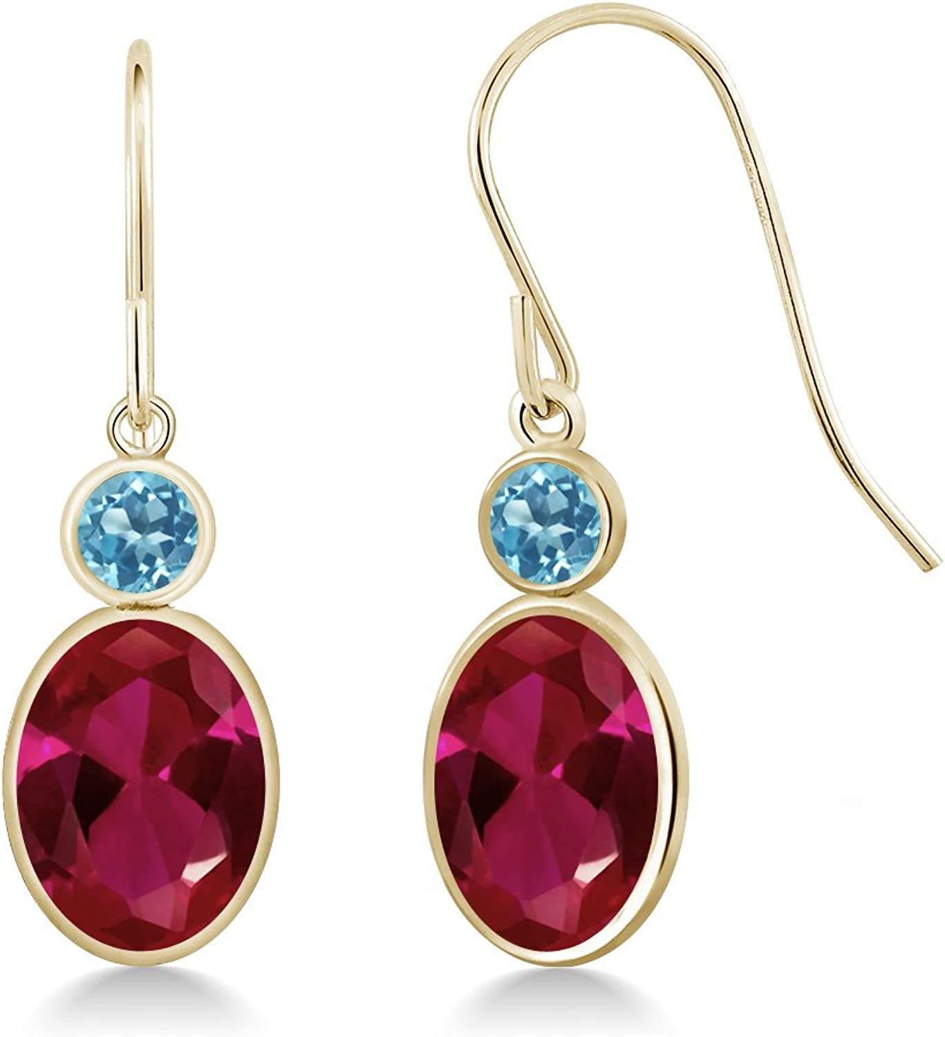 3.14 Ct Oval Red Created Ruby Swiss bluee Topaz 14K Yellow gold Earrings