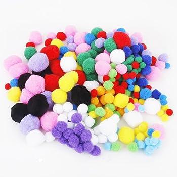 Mentin 1000 Pcs Doux Rond Fluffy Artisanat Pompoms Boule Mixte Couleur Pom Poms 10mm DIY Artisanat