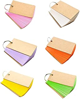 Paper Study Cards , Pyhot 6 Set 300 Pieces Multi-Color Kraft Paper Binder Ring Easy Flip Flash Card Study Cards (6P Mixed)