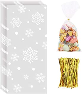 CCINEE Snowflake Treat Bag,Christmas Cellophane Bag with Twist Ties Candy Cookie Bags for Party Supplies,120PCS