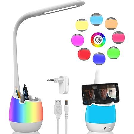 ERAY Lampe de Table Dimmable, Lampe de Chevet pour Enfants avec Porte-Crayon/Batterie rechargeable de 2000mAh/ Veilleuse Colorée/ 3 Modes et 3 Niveaux de luminosité/Contrôle Tactile - Blanc
