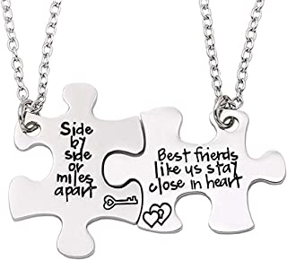 COLORFUL BLING 2PCS Best Friends Necklaces BFF Friendship Matching Puzzle Necklace Long Distance Friendship Gifts for Wome...