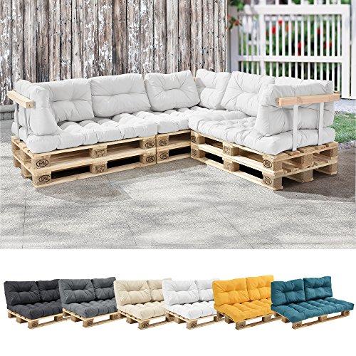 [en.casa] 1x Coussin de siège pour canapé d'euro Palette [Blanc] Coussins de palettes in/Outdoor Rembourrage Meuble