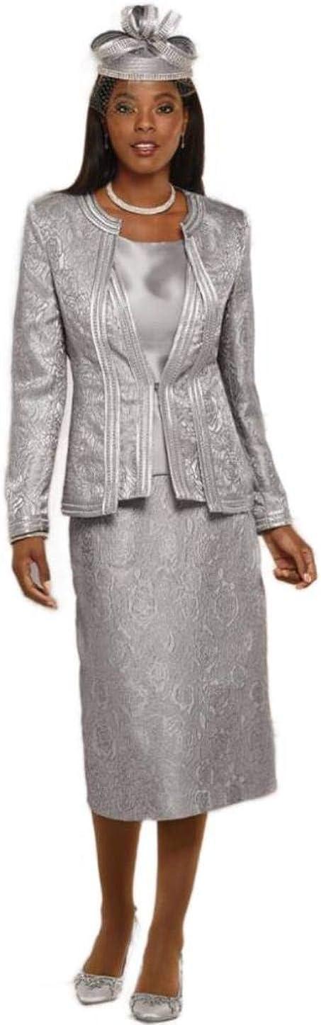 Terramina 0687 Women's 3 Piece Classic 上品 日時指定 Suit Skirt Hat is Church