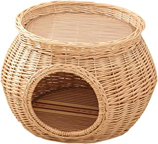 Wicker Cat Bed 2 Tier Pet Basket House Seasons Universal Kitten Nest with Washable Cushions